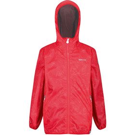 Regatta Printed Lever Chaqueta Impermeable Niños, fiery coral